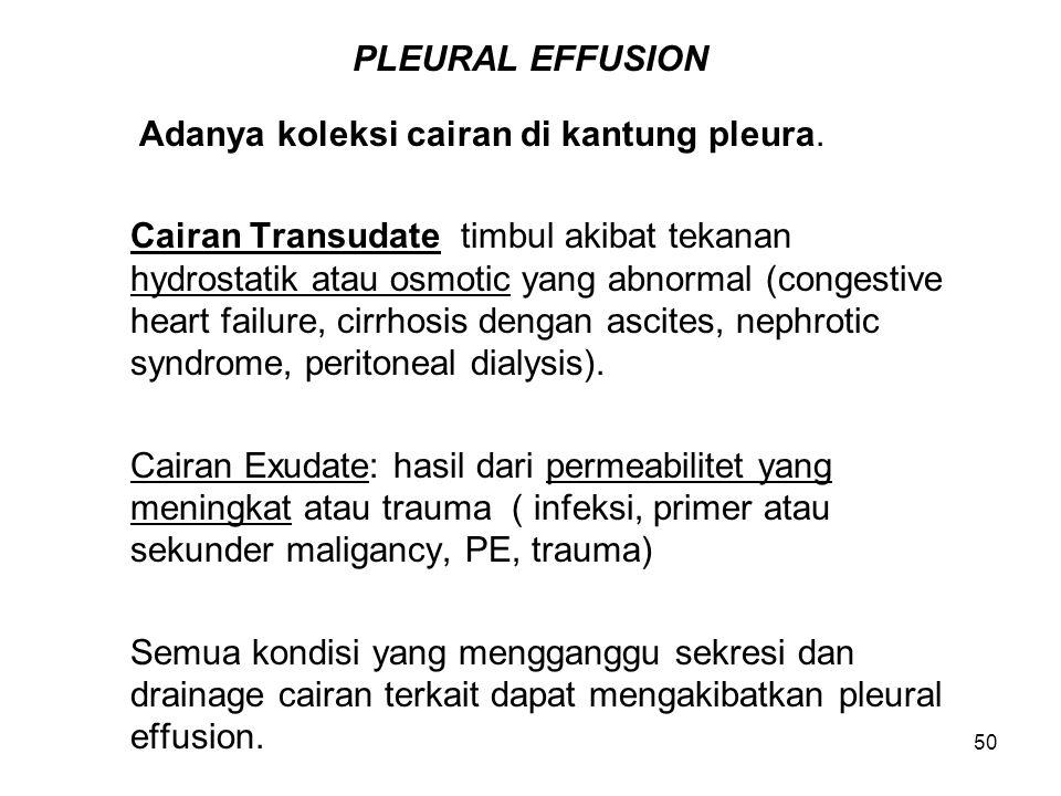 50 PLEURAL EFFUSION Adanya koleksi cairan di kantung pleura. Cairan Transudate timbul akibat tekanan hydrostatik atau osmotic yang abnormal (congestiv
