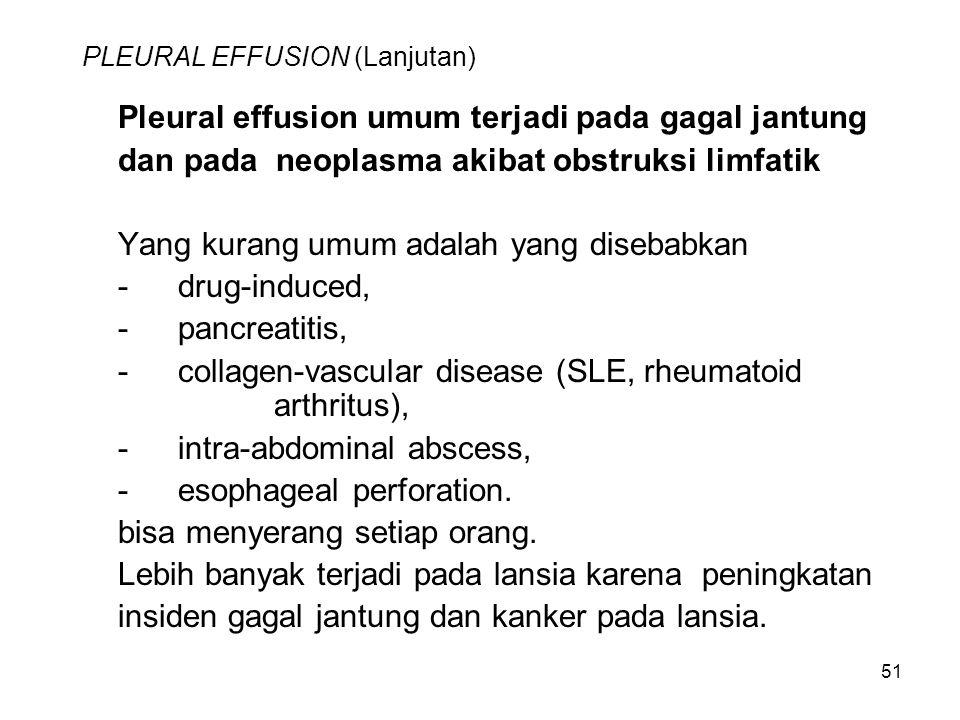 51 PLEURAL EFFUSION (Lanjutan) Pleural effusion umum terjadi pada gagal jantung dan pada neoplasma akibat obstruksi limfatik Yang kurang umum adalah yang disebabkan -drug-induced, -pancreatitis, -collagen-vascular disease (SLE, rheumatoid arthritus), -intra-abdominal abscess, -esophageal perforation.