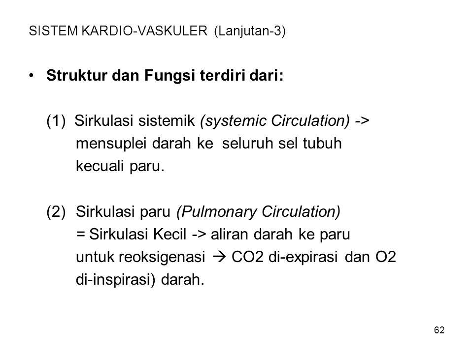 62 SISTEM KARDIO-VASKULER (Lanjutan-3) Struktur dan Fungsi terdiri dari: (1) Sirkulasi sistemik (systemic Circulation) -> mensuplei darah ke seluruh sel tubuh kecuali paru.