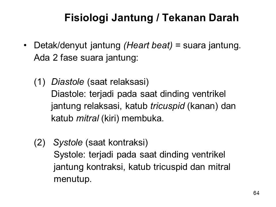 64 Fisiologi Jantung / Tekanan Darah Detak/denyut jantung (Heart beat) = suara jantung. Ada 2 fase suara jantung: (1)Diastole (saat relaksasi) Diastol