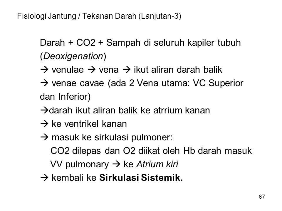 67 Fisiologi Jantung / Tekanan Darah (Lanjutan-3) Darah + CO2 + Sampah di seluruh kapiler tubuh (Deoxigenation)  venulae  vena  ikut aliran darah balik  venae cavae (ada 2 Vena utama: VC Superior dan Inferior)  darah ikut aliran balik ke atrrium kanan  ke ventrikel kanan  masuk ke sirkulasi pulmoner: CO2 dilepas dan O2 diikat oleh Hb darah masuk VV pulmonary  ke Atrium kiri  kembali ke Sirkulasi Sistemik.