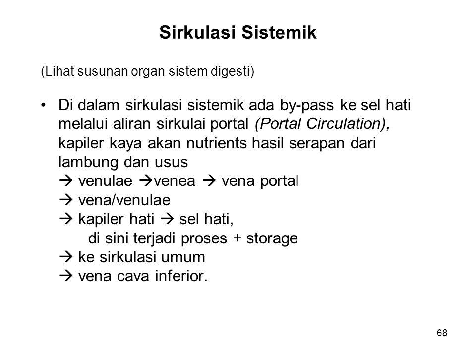 68 Sirkulasi Sistemik (Lihat susunan organ sistem digesti) Di dalam sirkulasi sistemik ada by-pass ke sel hati melalui aliran sirkulai portal (Portal