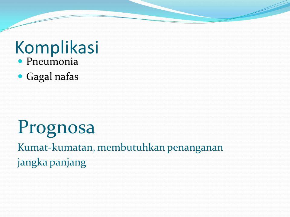 Komplikasi Pneumonia Gagal nafas Prognosa Kumat-kumatan, membutuhkan penanganan jangka panjang