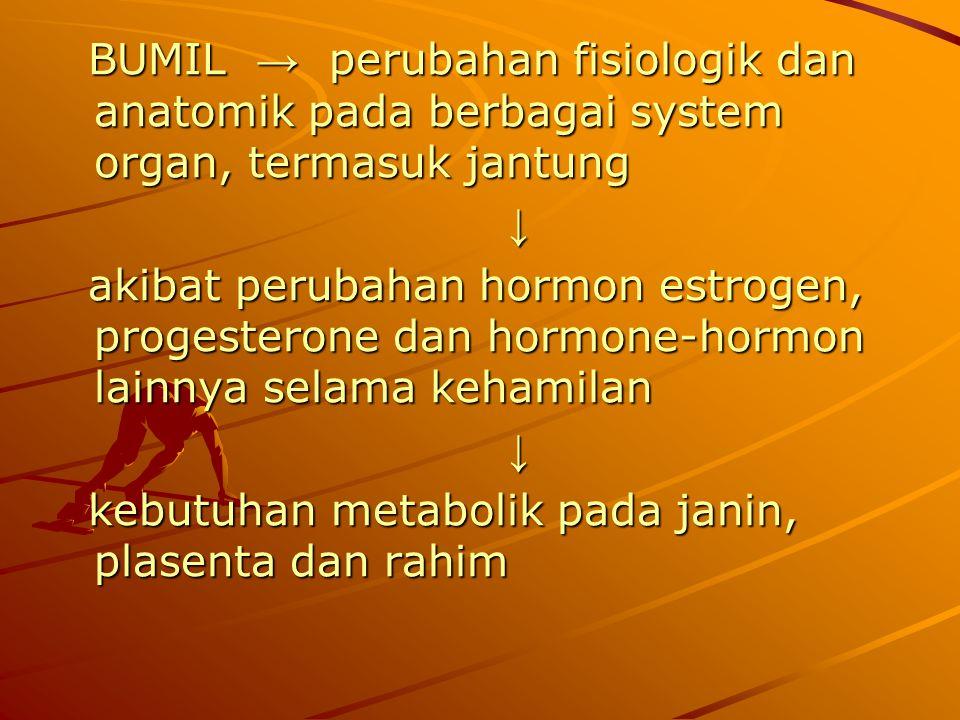 BUMIL → perubahan fisiologik dan anatomik pada berbagai system organ, termasuk jantung BUMIL → perubahan fisiologik dan anatomik pada berbagai system