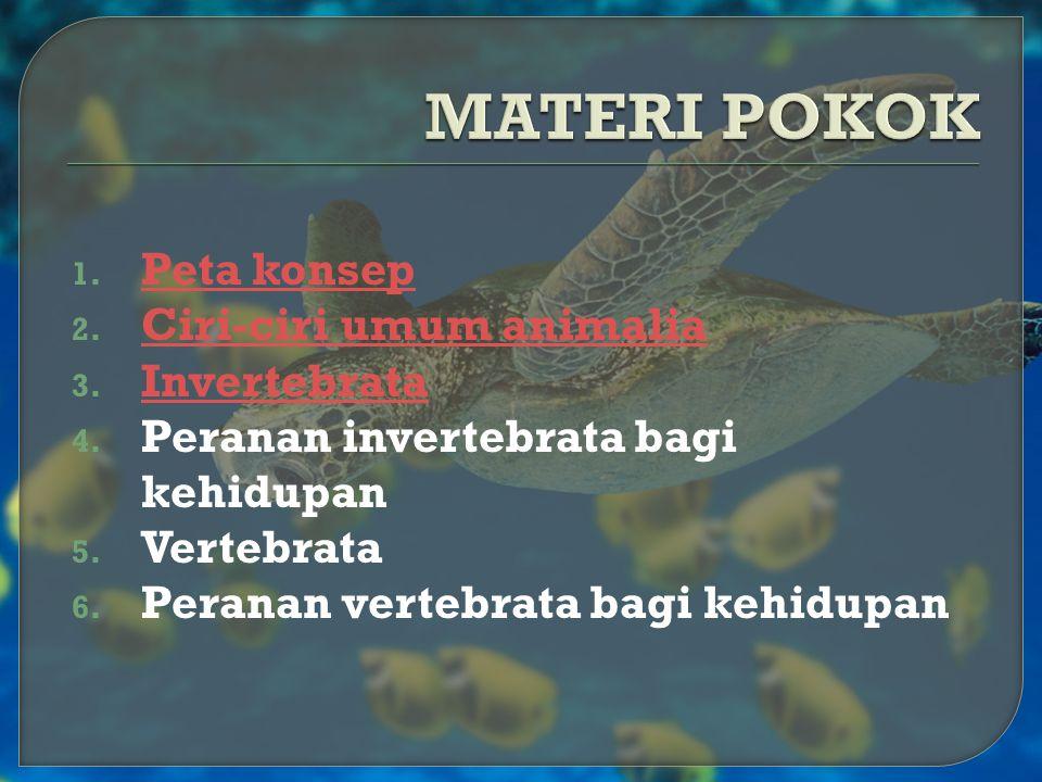 1. P Peta konsep 2. C Ciri-ciri umum animalia 3. I Invertebrata 4. Peranan invertebrata bagi kehidupan 5. Vertebrata 6. Peranan vertebrata bagi kehidu