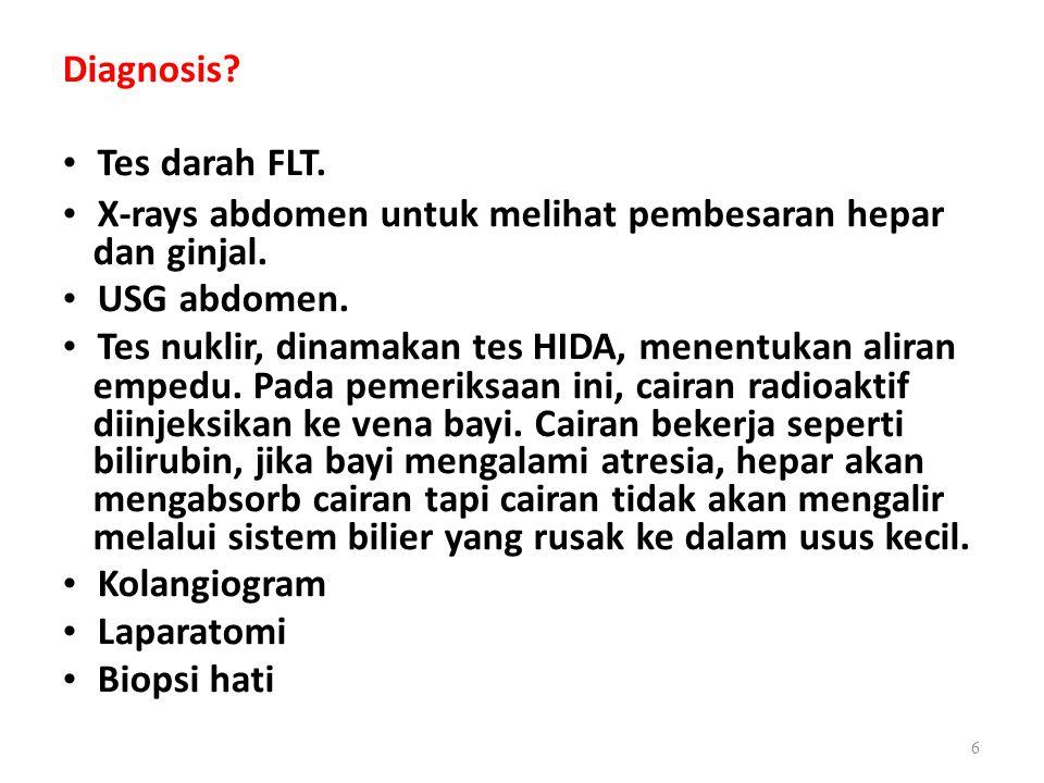 Diagnosis.Tes darah FLT. X-rays abdomen untuk melihat pembesaran hepar dan ginjal.
