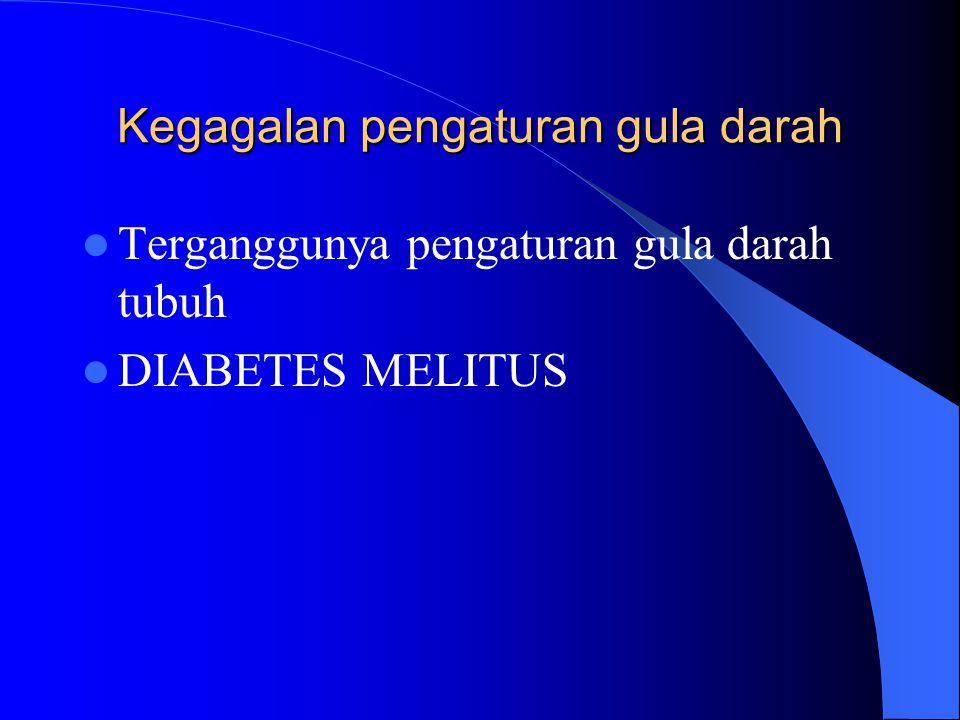 Kegagalan pengaturan gula darah Terganggunya pengaturan gula darah tubuh DIABETES MELITUS