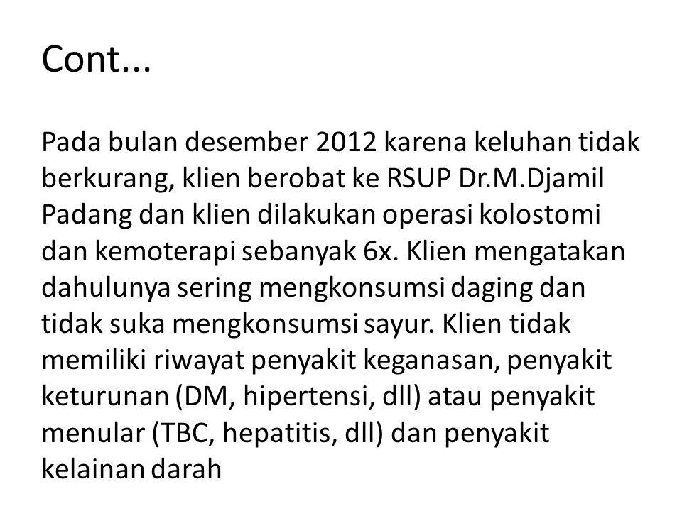 Cont... Pada bulan desember 2012 karena keluhan tidak berkurang, klien berobat ke RSUP Dr.M.Djamil Padang dan klien dilakukan operasi kolostomi dan ke