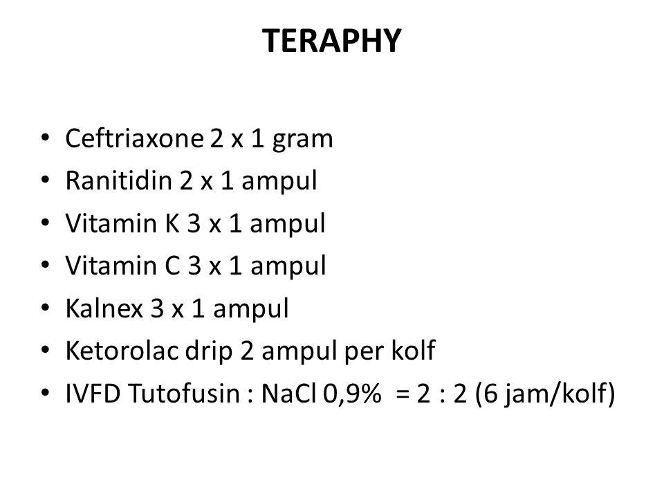 TERAPHY Ceftriaxone 2 x 1 gram Ranitidin 2 x 1 ampul Vitamin K 3 x 1 ampul Vitamin C 3 x 1 ampul Kalnex 3 x 1 ampul Ketorolac drip 2 ampul per kolf IV