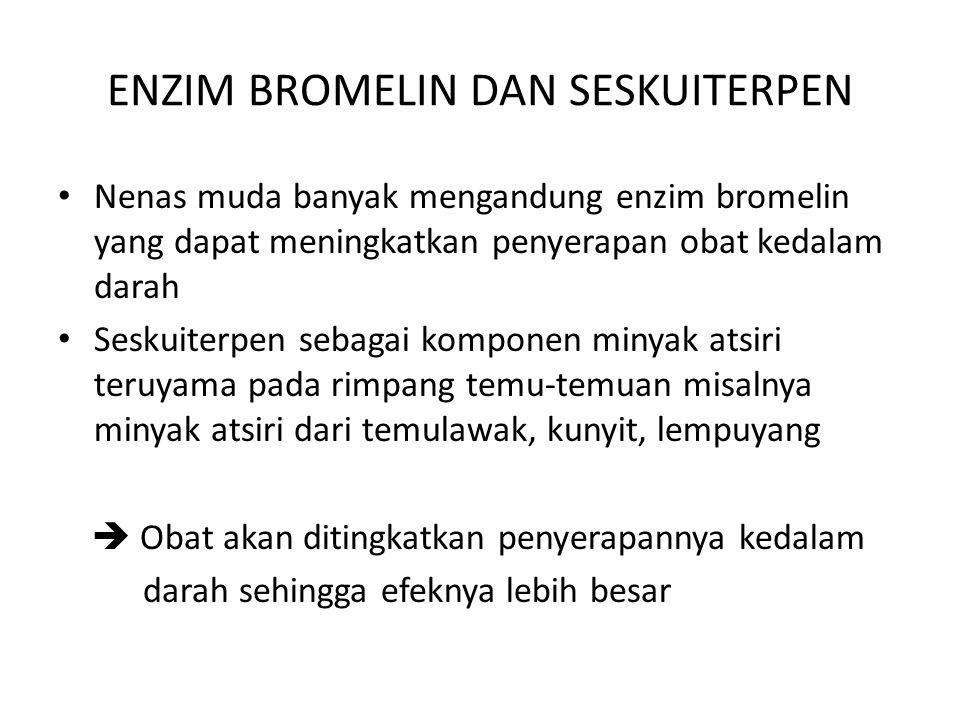 ENZIM BROMELIN DAN SESKUITERPEN Nenas muda banyak mengandung enzim bromelin yang dapat meningkatkan penyerapan obat kedalam darah Seskuiterpen sebagai
