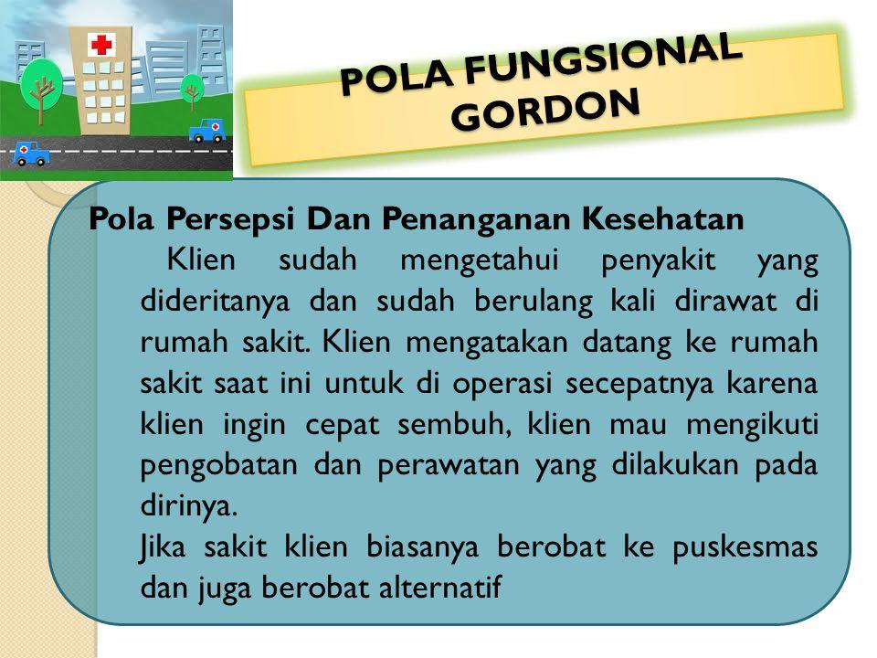 POLA FUNGSIONAL GORDON Pola Persepsi Dan Penanganan Kesehatan Klien sudah mengetahui penyakit yang dideritanya dan sudah berulang kali dirawat di ruma