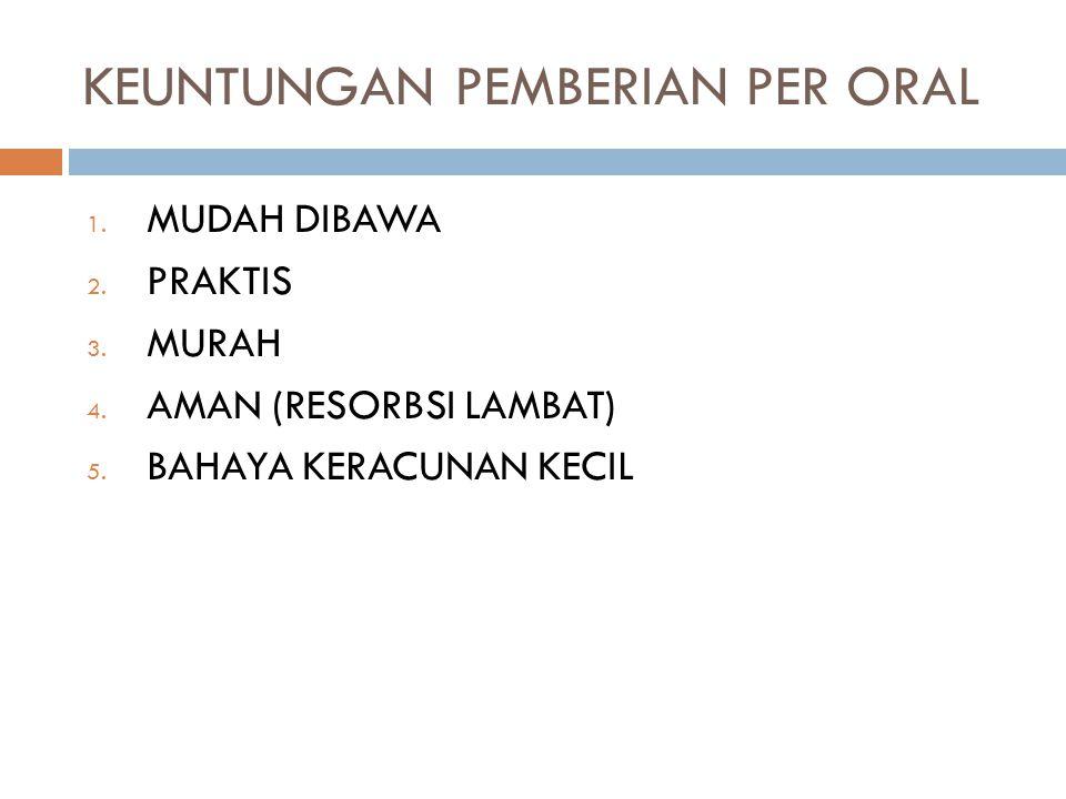 KEUNTUNGAN PEMBERIAN PER ORAL 1.MUDAH DIBAWA 2. PRAKTIS 3.