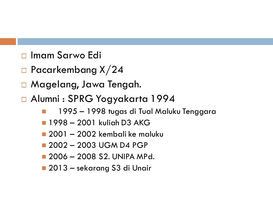  Imam Sarwo Edi  Pacarkembang X/24  Magelang, Jawa Tengah.  Alumni : SPRG Yogyakarta 1994 1995 – 1998 tugas di Tual Maluku Tenggara 1998 – 2001 ku