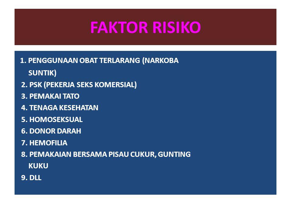 FAKTOR RISIKO 1. PENGGUNAAN OBAT TERLARANG (NARKOBA SUNTIK) 2. PSK (PEKERJA SEKS KOMERSIAL) 3. PEMAKAI TATO 4. TENAGA KESEHATAN 5. HOMOSEKSUAL 6. DONO