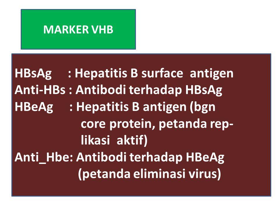 MARKER VHB HBsAg : Hepatitis B surface antigen Anti-HBs : Antibodi terhadap HBsAg HBeAg : Hepatitis B antigen (bgn core protein, petanda rep- likasi a