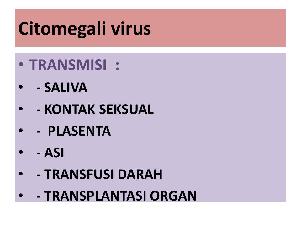 Citomegali virus TRANSMISI : - SALIVA - KONTAK SEKSUAL - PLASENTA - ASI - TRANSFUSI DARAH - TRANSPLANTASI ORGAN