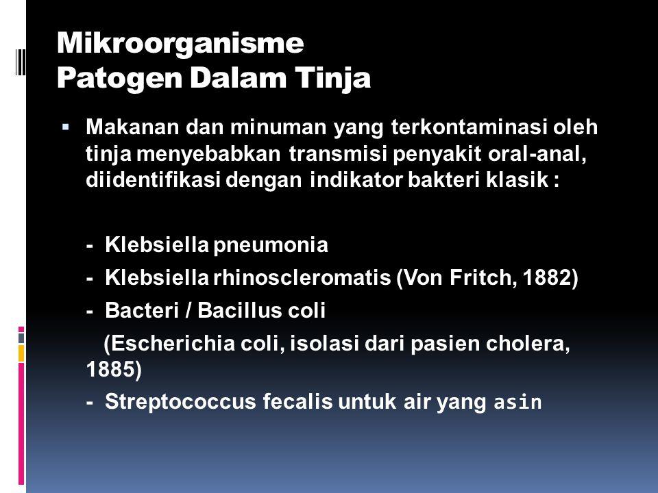 Mikroorganisme Patogen Dalam Tinja  Makanan dan minuman yang terkontaminasi oleh tinja menyebabkan transmisi penyakit oral-anal, diidentifikasi denga