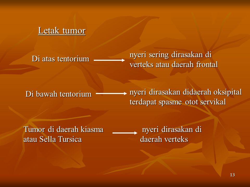 13 Letak tumor Di atas tentorium nyeri dirasakan didaerah oksipital terdapat spasme otot servikal Di bawah tentorium nyeri sering dirasakan di verteks