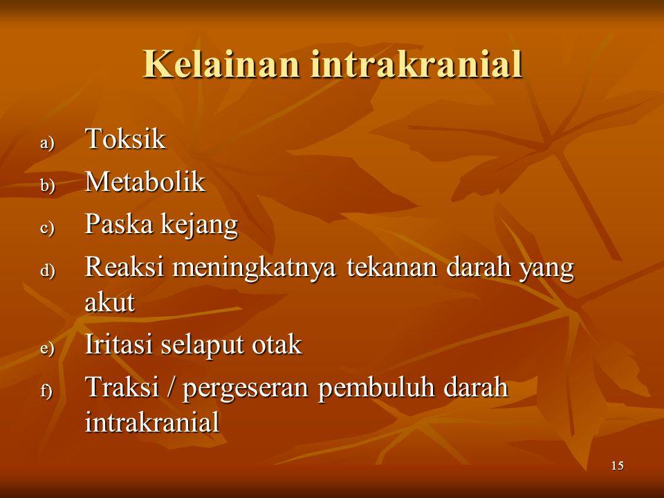 15 Kelainan intrakranial a) Toksik b) Metabolik c) Paska kejang d) Reaksi meningkatnya tekanan darah yang akut e) Iritasi selaput otak f) Traksi / per