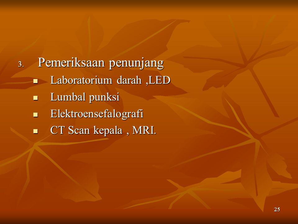 25 3. Pemeriksaan penunjang Laboratorium darah,LED Laboratorium darah,LED Lumbal punksi Lumbal punksi Elektroensefalografi Elektroensefalografi CT Sca