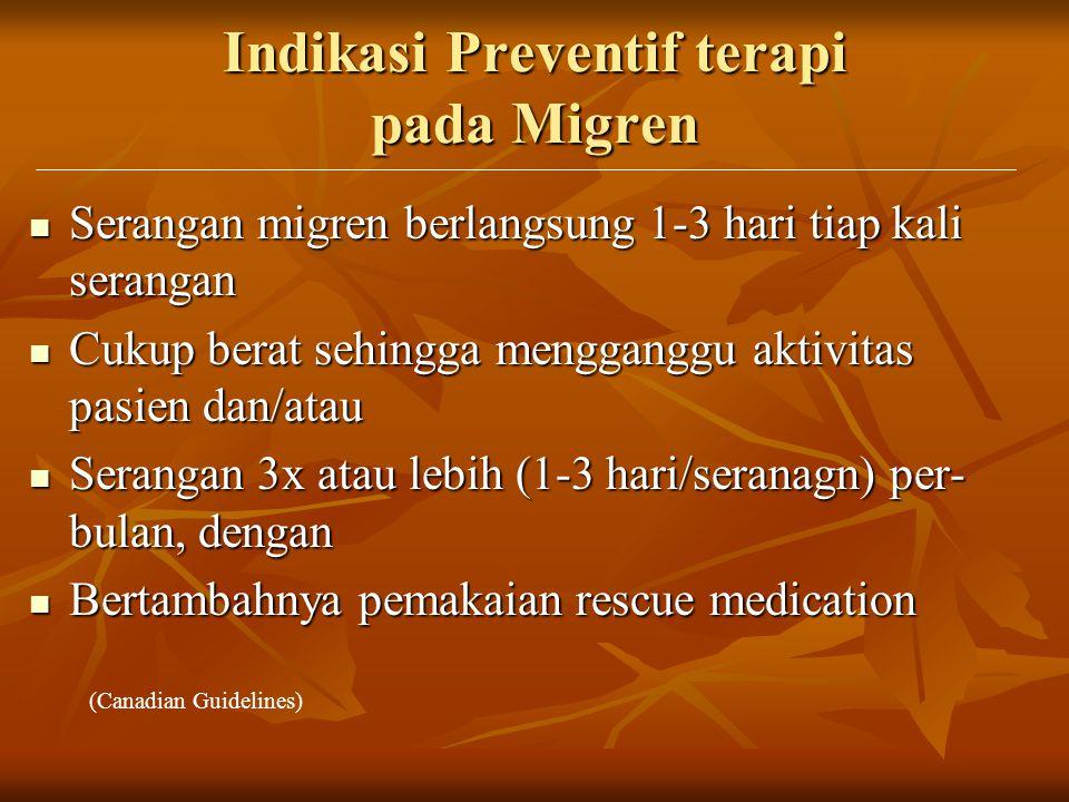 Indikasi Preventif terapi pada Migren Serangan migren berlangsung 1-3 hari tiap kali serangan Serangan migren berlangsung 1-3 hari tiap kali serangan