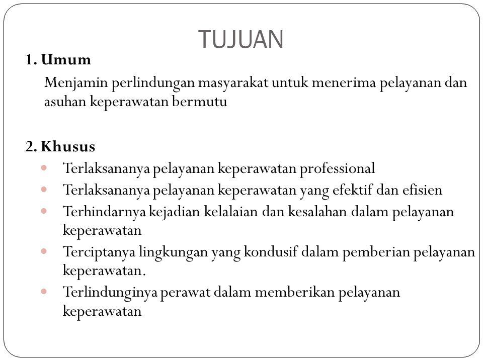 TUJUAN 1. Umum Menjamin perlindungan masyarakat untuk menerima pelayanan dan asuhan keperawatan bermutu 2. Khusus Terlaksananya pelayanan keperawatan