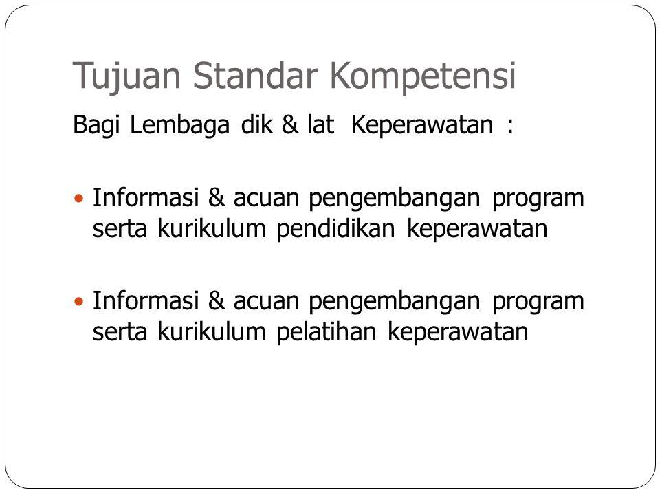 Tujuan Standar Kompetensi Bagi Lembaga dik & lat Keperawatan : Informasi & acuan pengembangan program serta kurikulum pendidikan keperawatan Informasi
