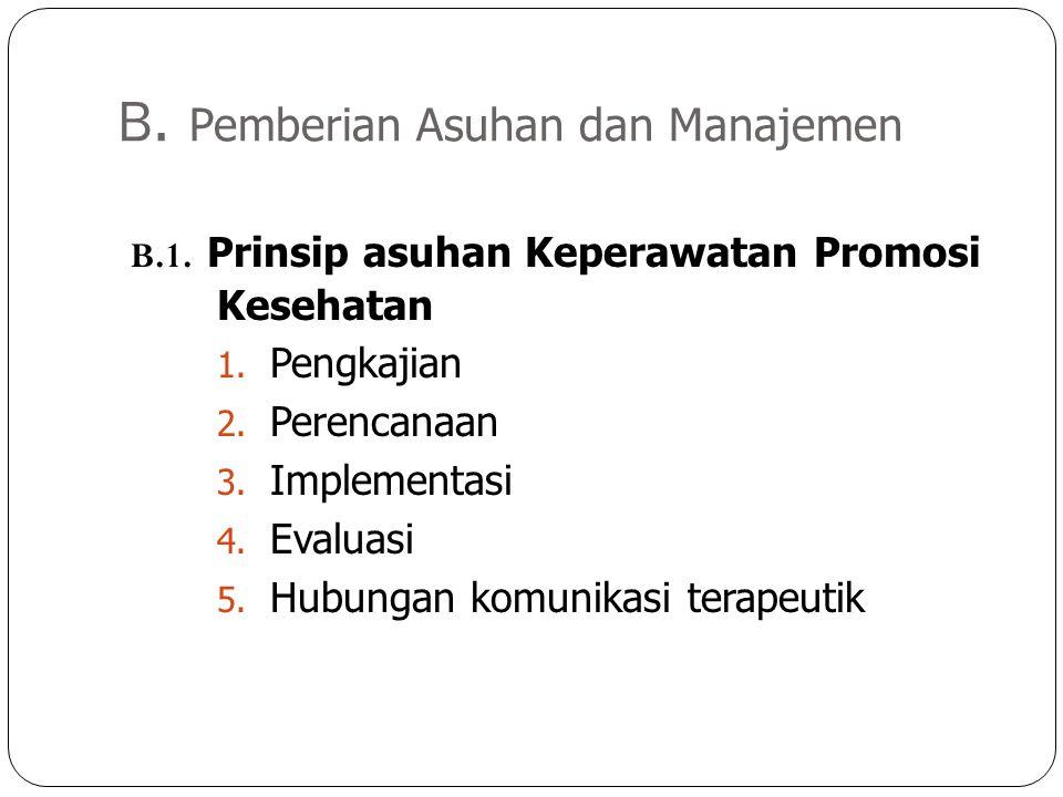 B. Pemberian Asuhan dan Manajemen B.1. Prinsip asuhan Keperawatan Promosi Kesehatan 1. Pengkajian 2. Perencanaan 3. Implementasi 4. Evaluasi 5. Hubung