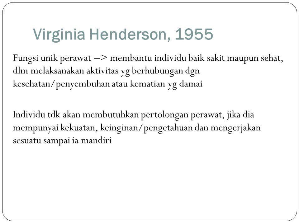 Virginia Henderson, 1955 Fungsi unik perawat => membantu individu baik sakit maupun sehat, dlm melaksanakan aktivitas yg berhubungan dgn kesehatan/pen