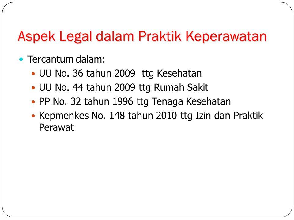 Aspek Legal dalam Praktik Keperawatan Tercantum dalam: UU No. 36 tahun 2009 ttg Kesehatan UU No. 44 tahun 2009 ttg Rumah Sakit PP No. 32 tahun 1996 tt