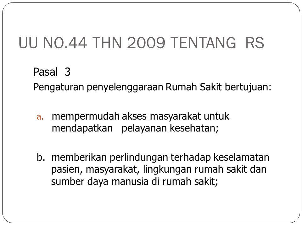 UU NO.44 THN 2009 TENTANG RS Pasal 3 Pengaturan penyelenggaraan Rumah Sakit bertujuan: a. mempermudah akses masyarakat untuk mendapatkan pelayanan kes