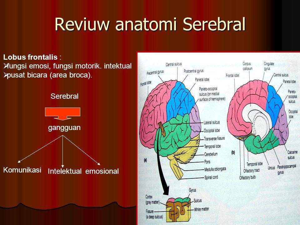 Reviuw anatomi Serebral Lobus frontalis :  fungsi emosi, fungsi motorik. intektual  pusat bicara (area broca). Serebral gangguan Komunikasi Intelekt
