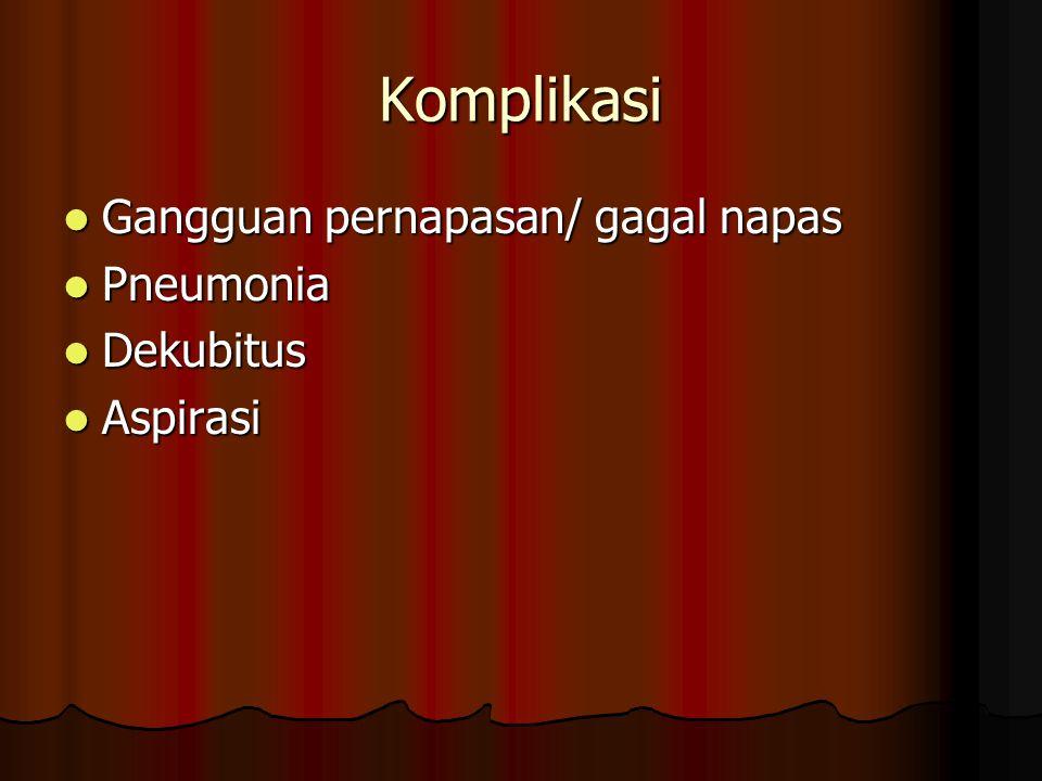 Komplikasi Gangguan pernapasan/ gagal napas Gangguan pernapasan/ gagal napas Pneumonia Pneumonia Dekubitus Dekubitus Aspirasi Aspirasi