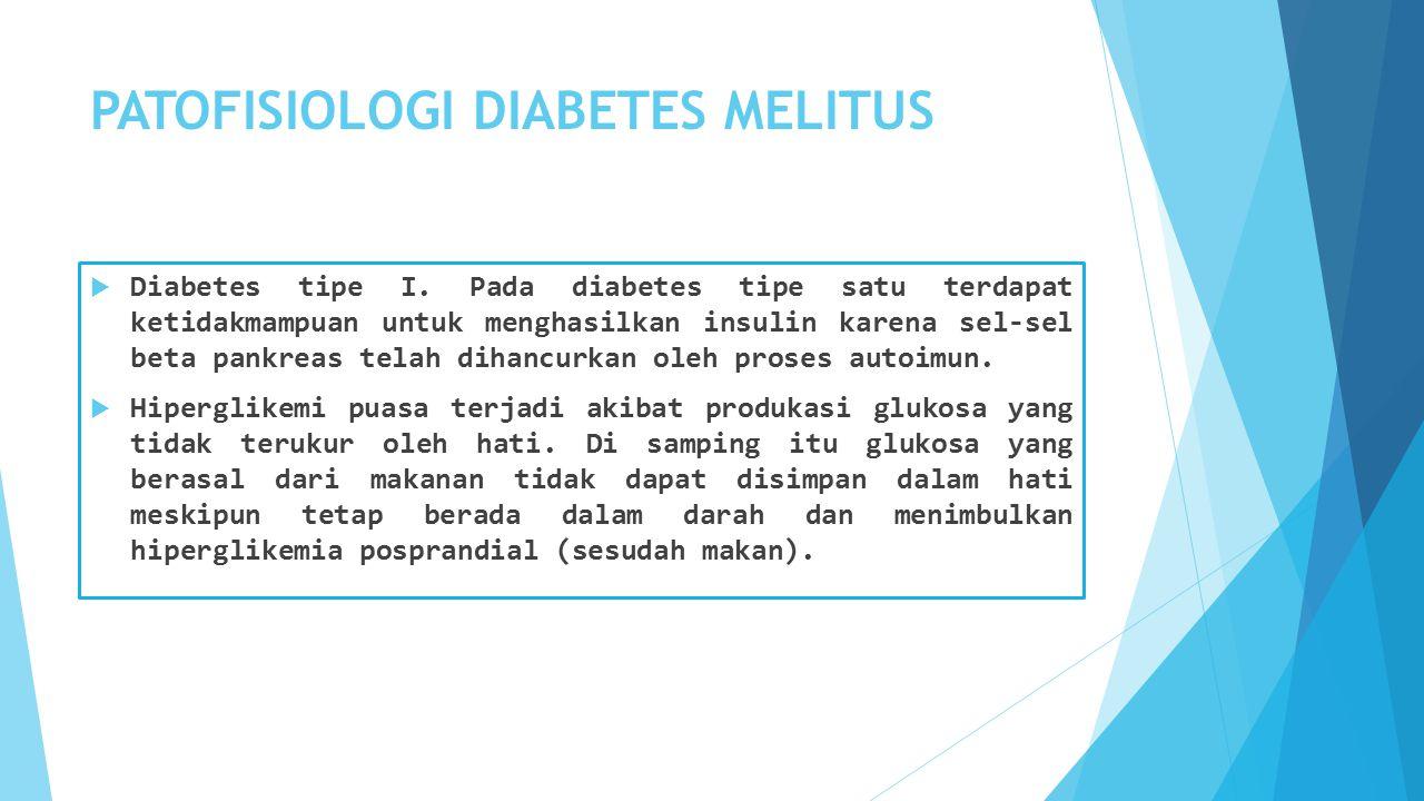 PATOFISIOLOGI DIABETES MELITUS  Diabetes tipe I.