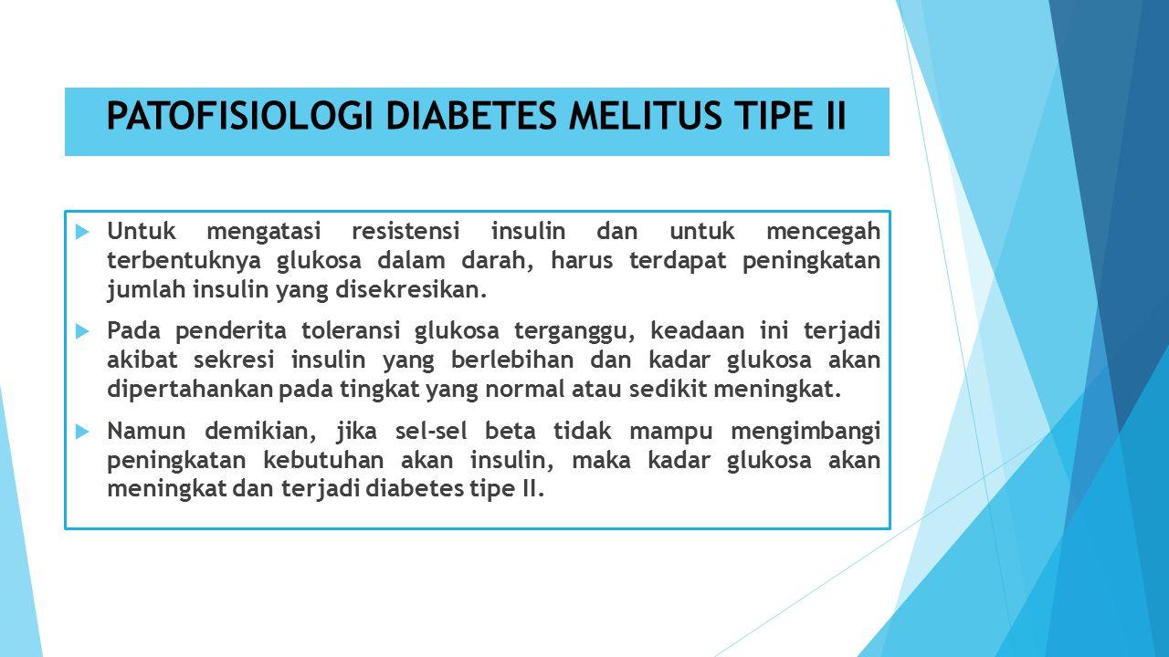PATOFISIOLOGI DIABETES MELITUS TIPE II  Untuk mengatasi resistensi insulin dan untuk mencegah terbentuknya glukosa dalam darah, harus terdapat peningkatan jumlah insulin yang disekresikan.
