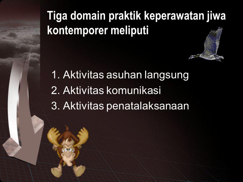 Tiga domain praktik keperawatan jiwa kontemporer meliputi 1. Aktivitas asuhan langsung 2. Aktivitas komunikasi 3. Aktivitas penatalaksanaan