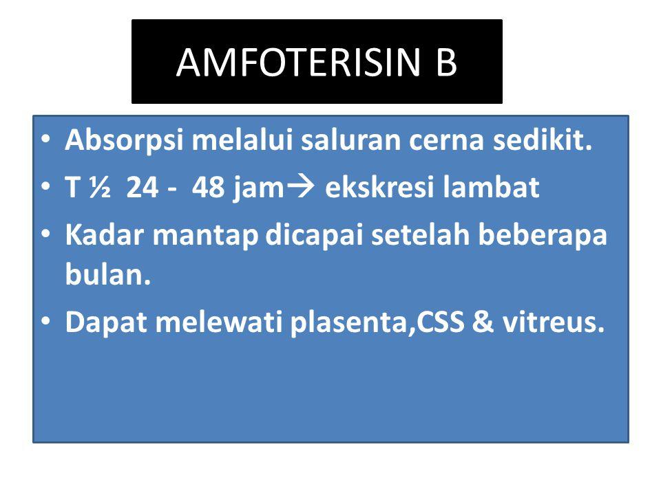 AMFOTERISIN B Absorpsi melalui saluran cerna sedikit. T ½ 24 - 48 jam  ekskresi lambat Kadar mantap dicapai setelah beberapa bulan. Dapat melewati pl