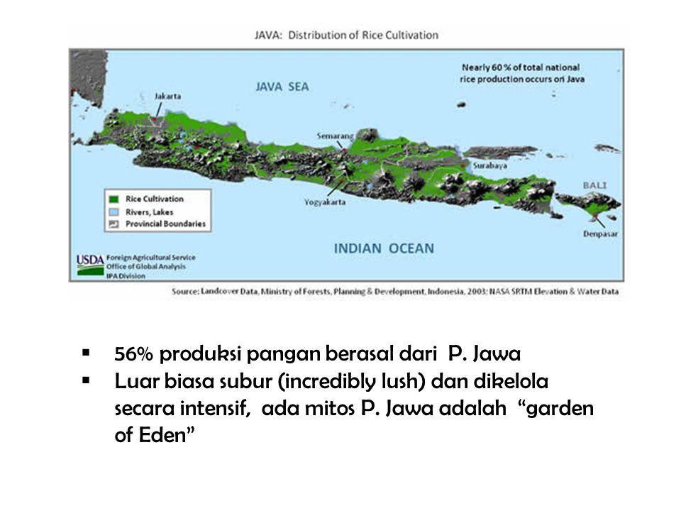 """ 56% produksi pangan berasal dari P. Jawa  Luar biasa subur (incredibly lush) dan dikelola secara intensif, ada mitos P. Jawa adalah """"garden of Eden"""