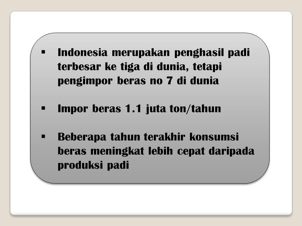  Indonesia merupakan penghasil padi terbesar ke tiga di dunia, tetapi pengimpor beras no 7 di dunia  Impor beras 1.1 juta ton/tahun  Beberapa tahun
