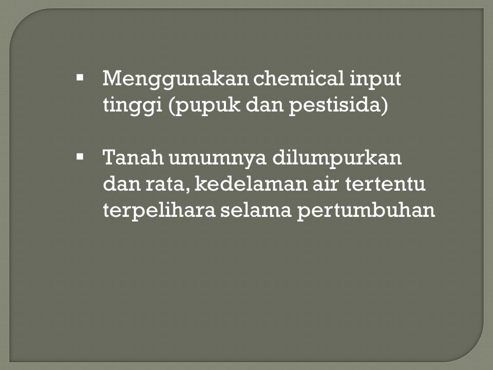  Menggunakan chemical input tinggi (pupuk dan pestisida)  Tanah umumnya dilumpurkan dan rata, kedelaman air tertentu terpelihara selama pertumbuhan