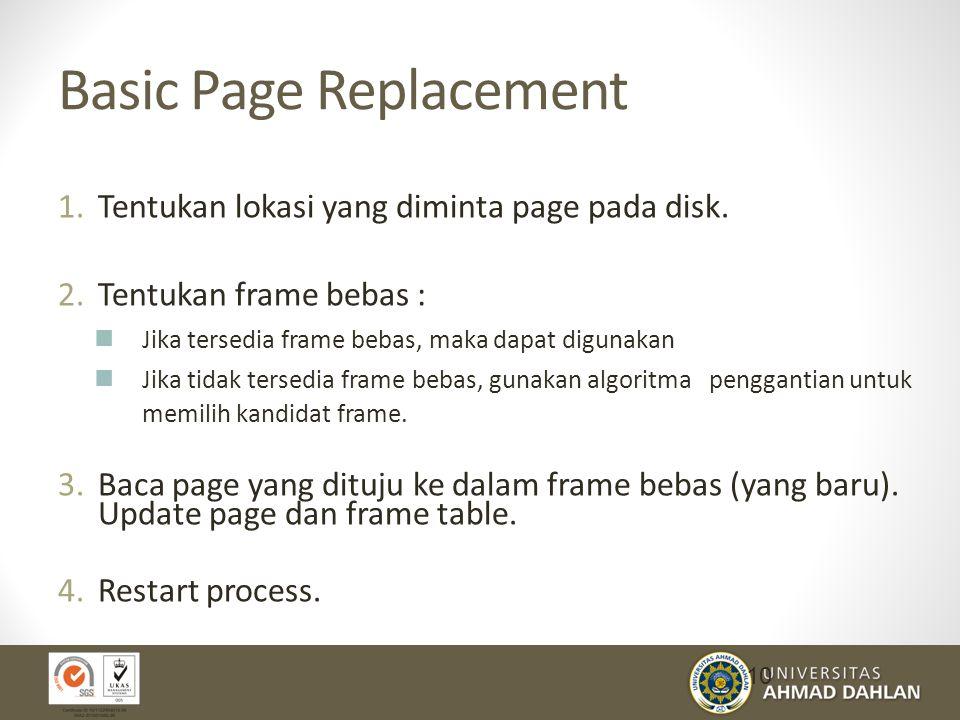 Basic Page Replacement 1.Tentukan lokasi yang diminta page pada disk.
