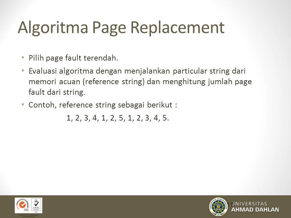 Algoritma Page Replacement Pilih page fault terendah.