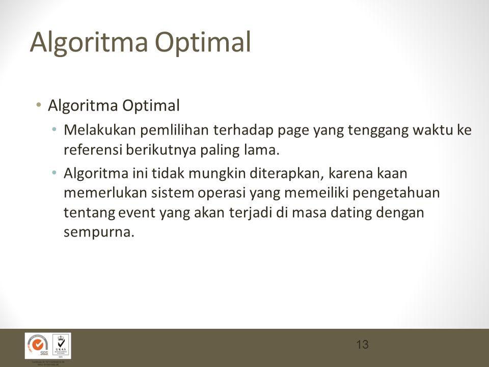 Algoritma Optimal Melakukan pemlilihan terhadap page yang tenggang waktu ke referensi berikutnya paling lama.