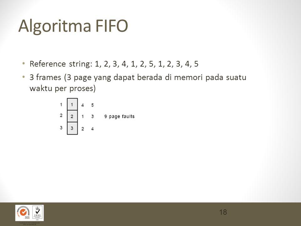 Algoritma FIFO Reference string: 1, 2, 3, 4, 1, 2, 5, 1, 2, 3, 4, 5 3 frames (3 page yang dapat berada di memori pada suatu waktu per proses) 18