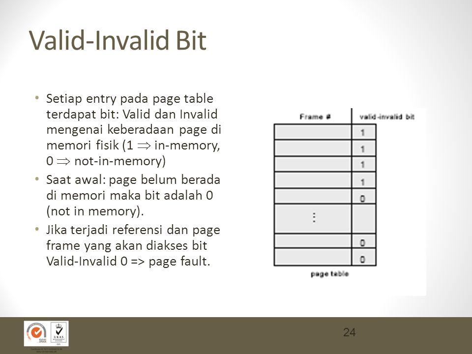 Valid-Invalid Bit Setiap entry pada page table terdapat bit: Valid dan Invalid mengenai keberadaan page di memori fisik (1  in-memory, 0  not-in-memory) Saat awal: page belum berada di memori maka bit adalah 0 (not in memory).