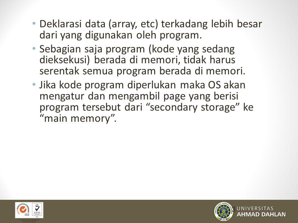 Deklarasi data (array, etc) terkadang lebih besar dari yang digunakan oleh program.