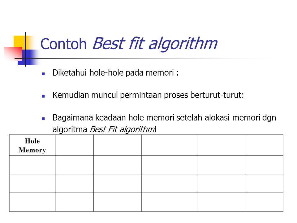 Contoh Best fit algorithm Diketahui hole-hole pada memori : Kemudian muncul permintaan proses berturut-turut: Bagaimana keadaan hole memori setelah al