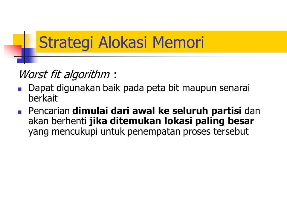 Strategi Alokasi Memori Worst fit algorithm : Dapat digunakan baik pada peta bit maupun senarai berkait Pencarian dimulai dari awal ke seluruh partisi