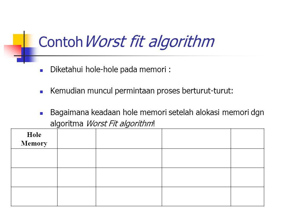 Contoh Worst fit algorithm Diketahui hole-hole pada memori : Kemudian muncul permintaan proses berturut-turut: Bagaimana keadaan hole memori setelah a