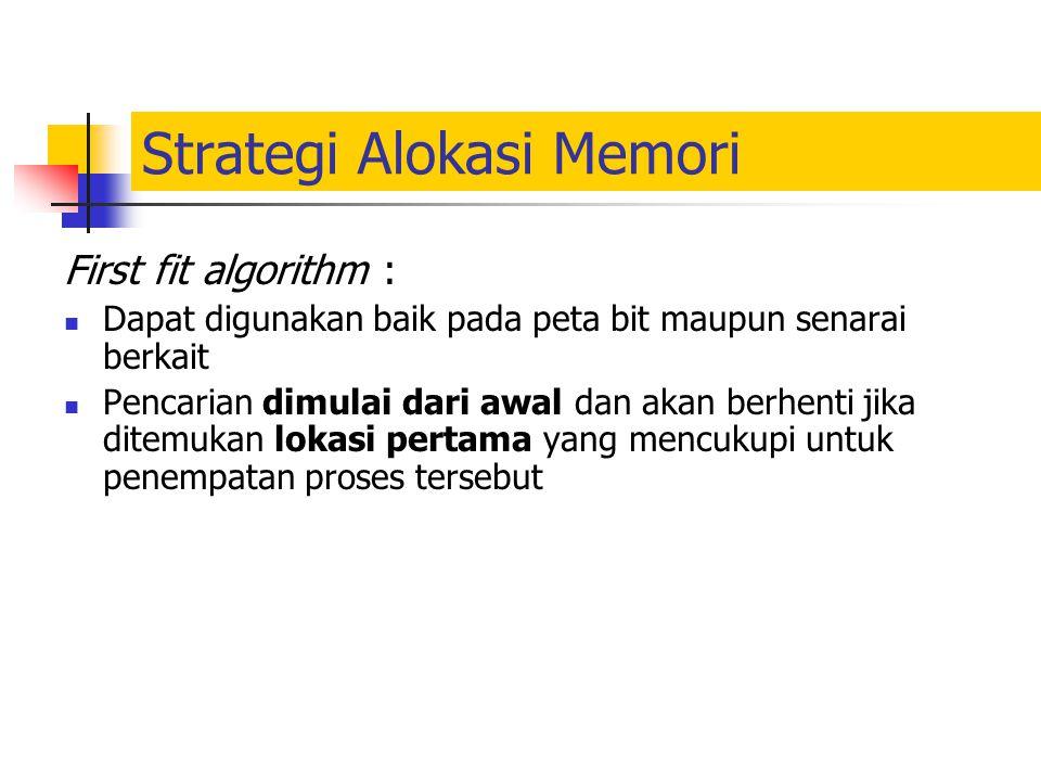 Strategi Alokasi Memori First fit algorithm : Dapat digunakan baik pada peta bit maupun senarai berkait Pencarian dimulai dari awal dan akan berhenti